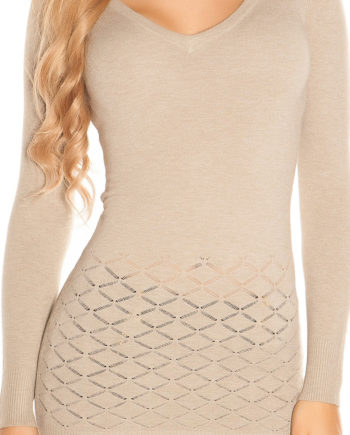 pull beige col en v dos lacets collection koucla