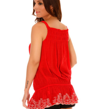 debardeur top blouse rouge