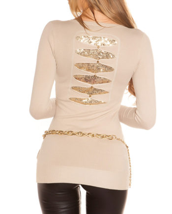 pull beige ouvert dos tissu or collection koucla