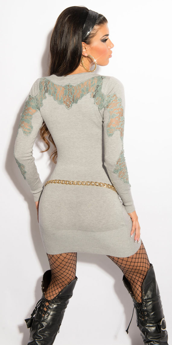 pull long gris manche dos dentelle broderie
