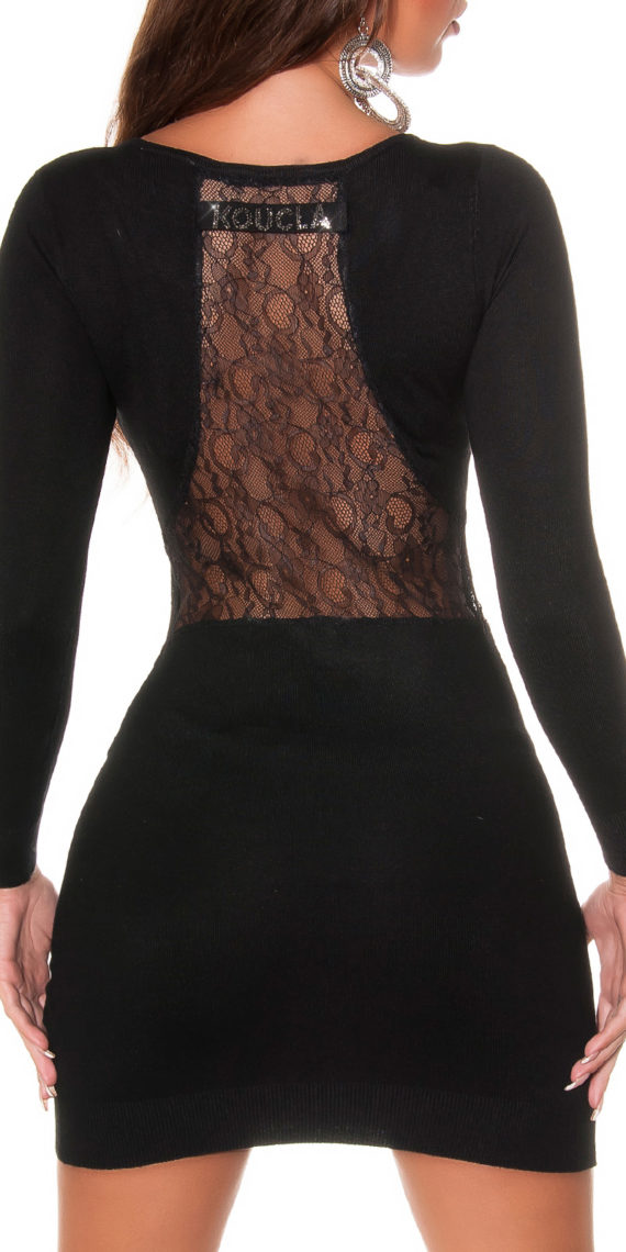 robe pull noir dos dentelle collection koucla