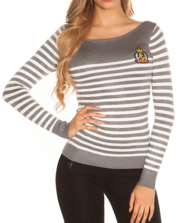 pull marin col arrondi gris et rayures blanches
