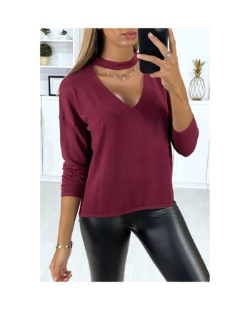pull bordeaux col en v nouvelle collection