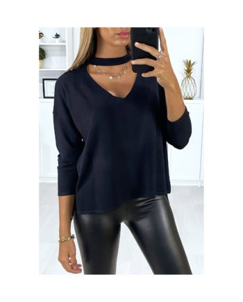 pull noir col en v nouvelle collection